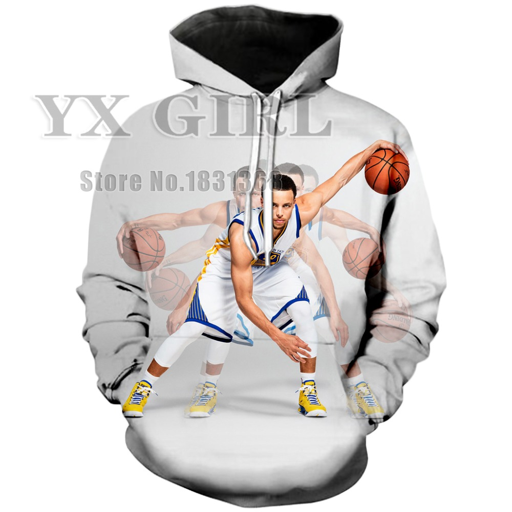 YX GIRL 2018 Newest Fashion Original Hoodies Mens Womens Pullover Celebrity Stephen Curry Print 3D Casual hooded Tracksuit