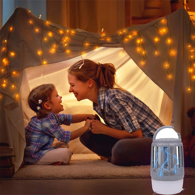 Trampa antimosquitos impermeable IP67 con carga USB, lámpara de luz nocturna LED, luces de insectos y bichos, repelente de plagas, luz de Camping 4