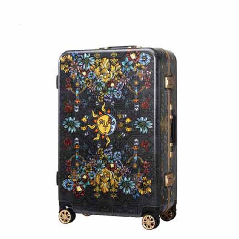 Aluminum Frame Rolling Luggage Pure hand-painted vintage print Spinner Suitcase Wheels Trolley Travel Bag майка борцовка print bar painted man