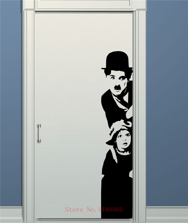 E647 ZN Free shipping CHARLIE CHAPLIN CINEMA Wall Art Sticker Decal DIY Home Decoration Wall Mural Removable Bedroom sticker
