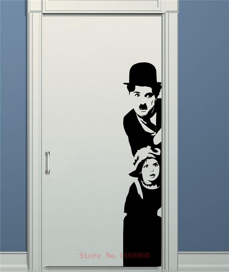 Adesivi Murali Charlie Chaplin.Us 9 99 E647 Zn Spedizione Gratuita Charlie Chaplin Cinema Wall Art Decalcomania Diy Home Decoration Decorazione Murale Camera Da Letto Smontabile