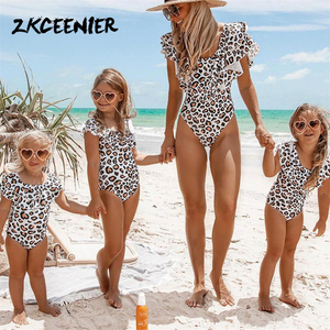 2019 Girl Swimsuit Kids Family Matching Swimsuit Bikini Mother Daughter Bathing Suit Parent-child Floral One Piece Swimwear