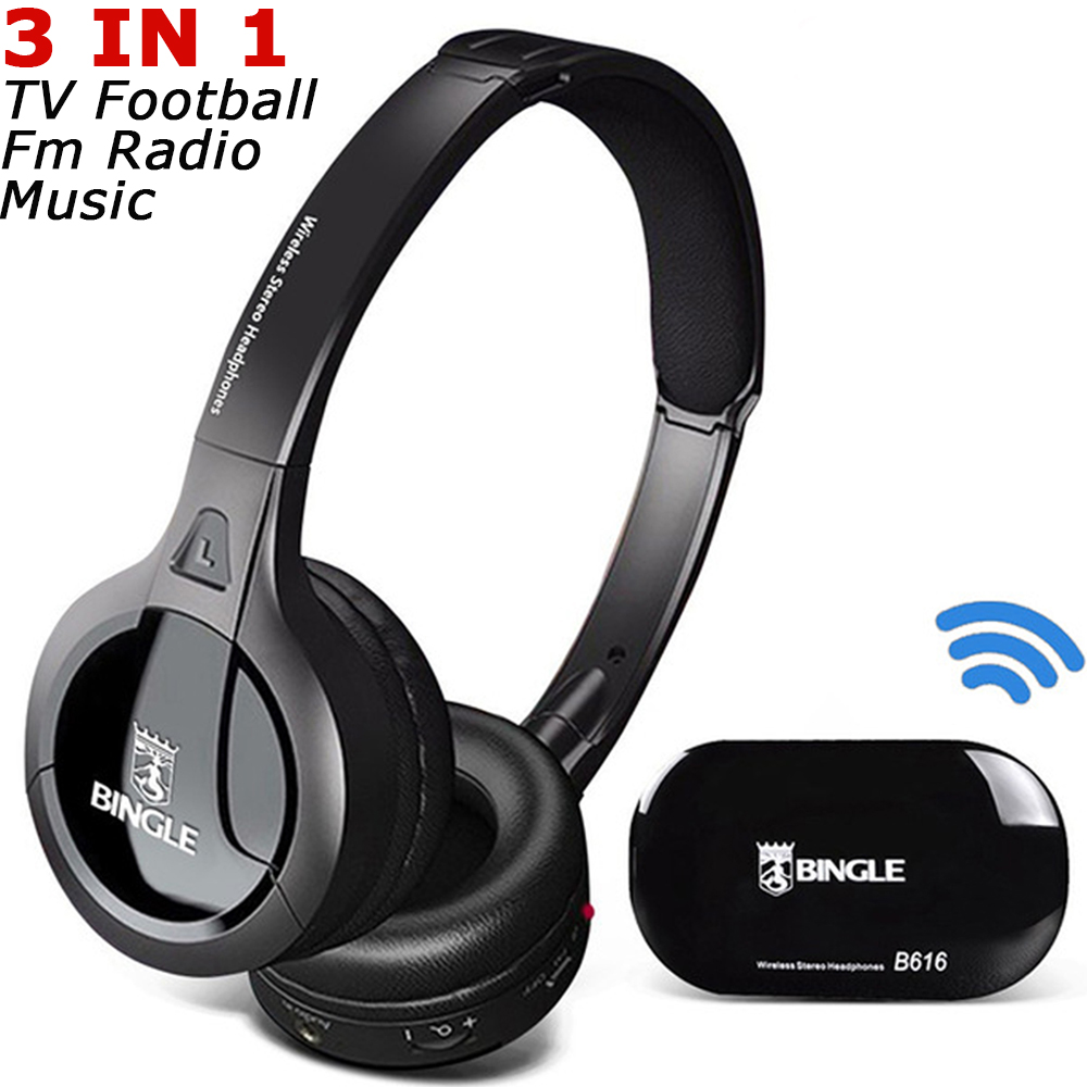 Bingle B616 2018 Noise Canceling FM Stereo Cordless Silent Disco Party Headsets Ecouteur Wireless Headphone For TV PC Smartphone