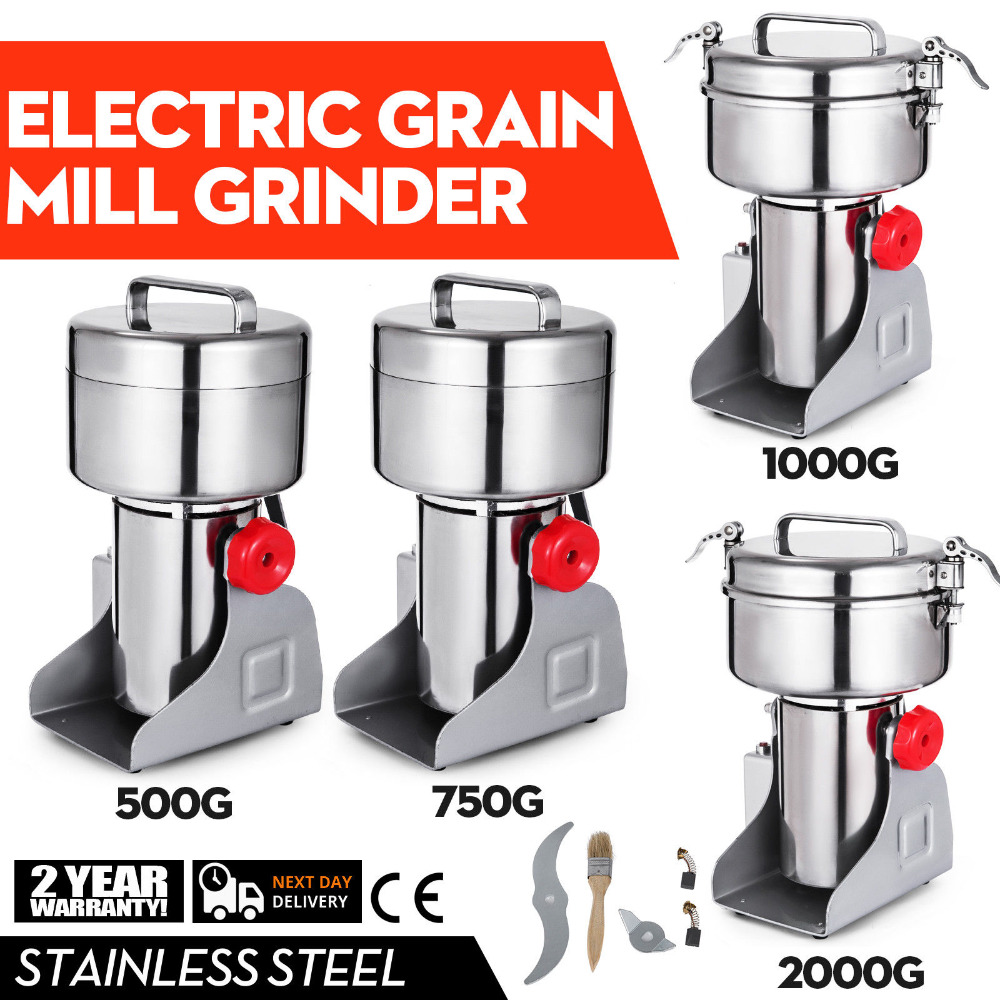 300~2000g Electric Herb Grain Mill Grinder 36000R/MIN Stainless Steel Coffee