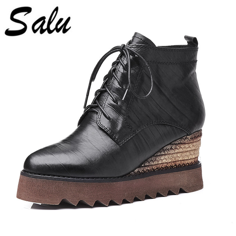 Salu 2018 Hot Genuine leather Women Boots Winter flat Boots Women Botas Mujer Lace Up Fur Ankle Boots Ladies Women Shoes salu 2018 new genuine leather women ankle boots lace up sexy women shoes platform flat high heel winter shoes women boots
