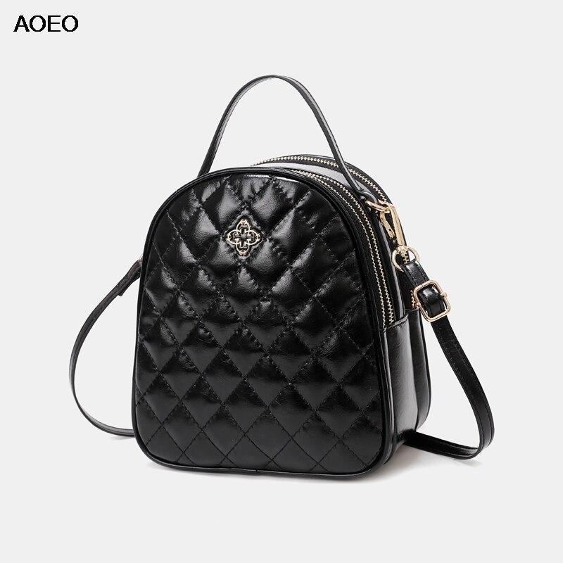 AOEO Luxury Handbags Women Bags Designer Small 2019 Rhombic Plaid Soft Split Leather 3 Pocket Girl