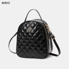 AOEO Luxury Handbags Women Bags Designer Small 2019 Rhombic Plaid Soft Split Leather 3 Pocket Girl Messenger Shoulder Bag Female