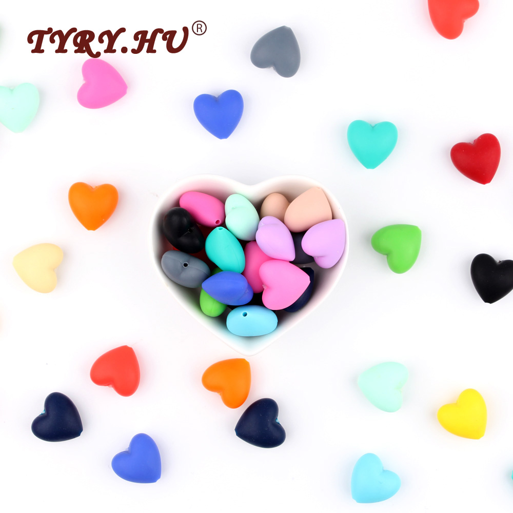 TYRY.HU 10Pcs Baby Teething Beads Food Grade Silicone Heart Beads BPA Free Chewable Baby Tooth Toys For Nursing Necklace Making