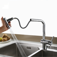 2 Functions Pull Out Kitchen Faucet Sink Mixer Faucets Pull Down Dual Sprayer Nozzle Hot Cold