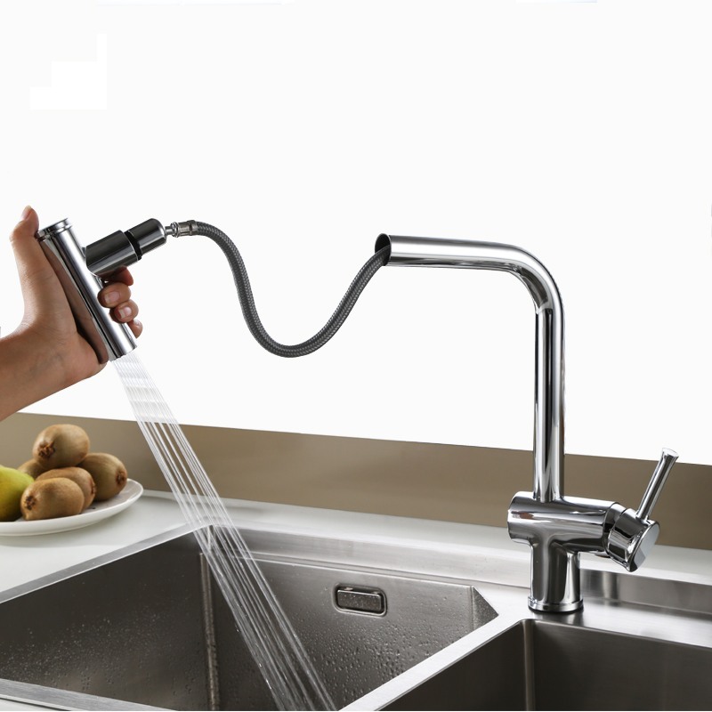 2 Functions Pull Out Kitchen Faucet Sink Mixer Faucets Pull Down Dual Sprayer Nozzle Hot Cold Mixer Water Taps Chrome Finished kitchen faucets black and chrome kitchen sink crane deck mount pull down dual sprayer nozzle hot cold mixer water taps xt 66