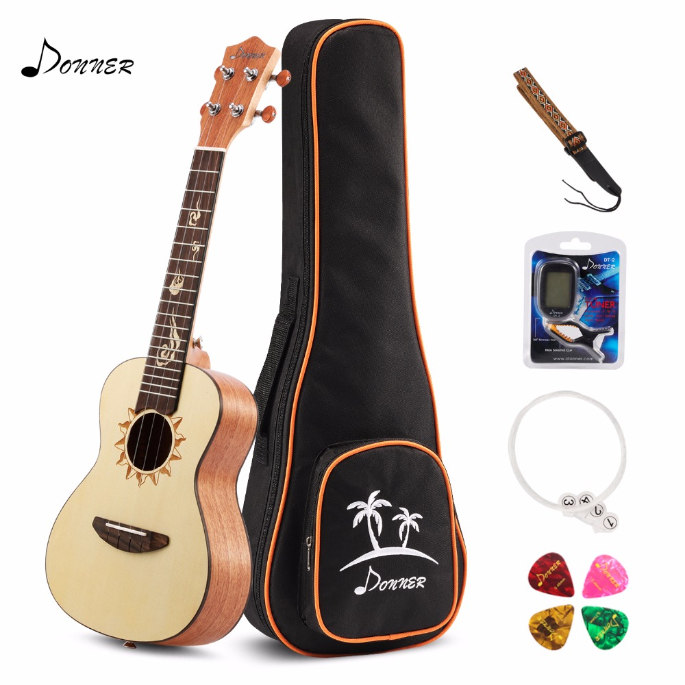 Donner 23 inch Concert Ukulele Spruce DUC-3 with Ukulele Set Strap Nylon String Tuner цены