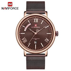 Image 5 - NAVIFORCE Watch Men Fashion Business Watches Mens Casual Waterproof Quartz Wristwatch Stainless Steel Mesh Relogio Masculino