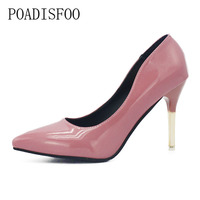 H CLassic 2017 Fashion Sexy Women S Shallow Mouth Metal Thin Heels Pointed Heels XXXY