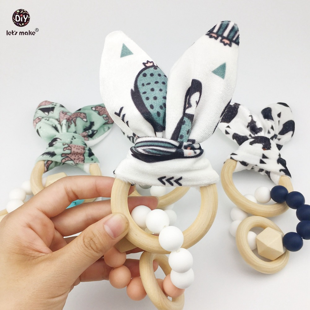 Lets Make Baby Teething Accessories 4pc Chew Silicone Beads Wooden Teether Bunny Ear DIY Jewelry Car Seat Toy Nursing Bracelets