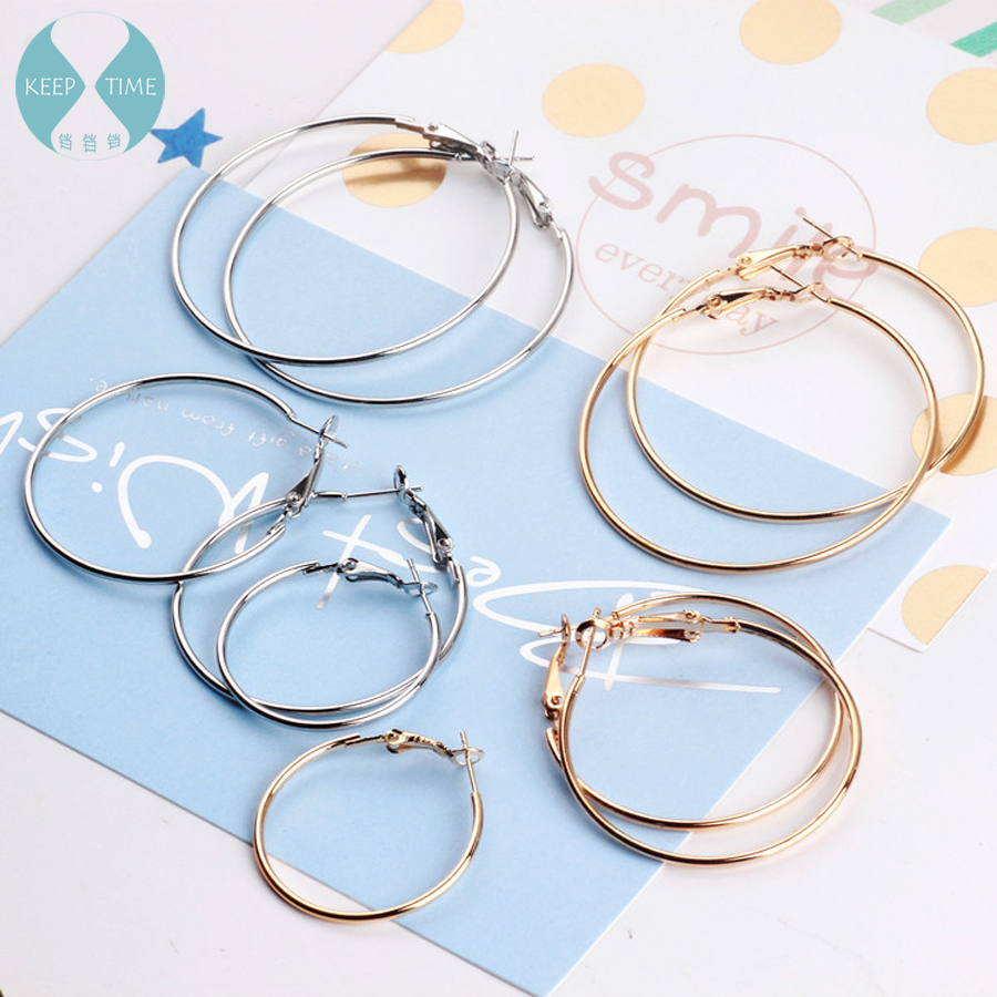 DIY Earrings Ring Jewelry Environmental Protection Plating Parts Korean Pop Round Minimalist Ear Clip Earrings Jewelry Materials