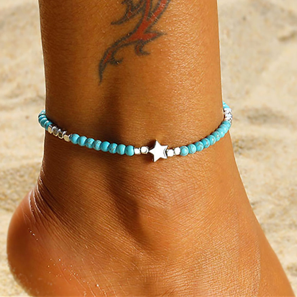 Vintage Handmade Weave Anklets for Women Bohemian Stone Beads Star Anklet Summer Beach Bracelet Ankle on Leg Boho Foot Jewelry
