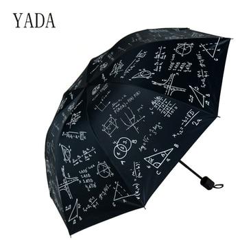 YADA Custom Charms Mathematics Folding Umbrella Rain Women uv High Quality Umbrella For Womens brand Windproof Umbrellas YS266 yada charms solid color umbrella women uv high quality foldable rain umbrella for men