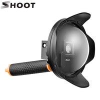 6 inç Dalış Dome Port Için GoPro Hero 4 3 + Siyah Gümüş Hero4 Kamera ile Su Geçirmez Kılıf Hnad Kavrama Git Pro Sualtı Kubbe Objektif