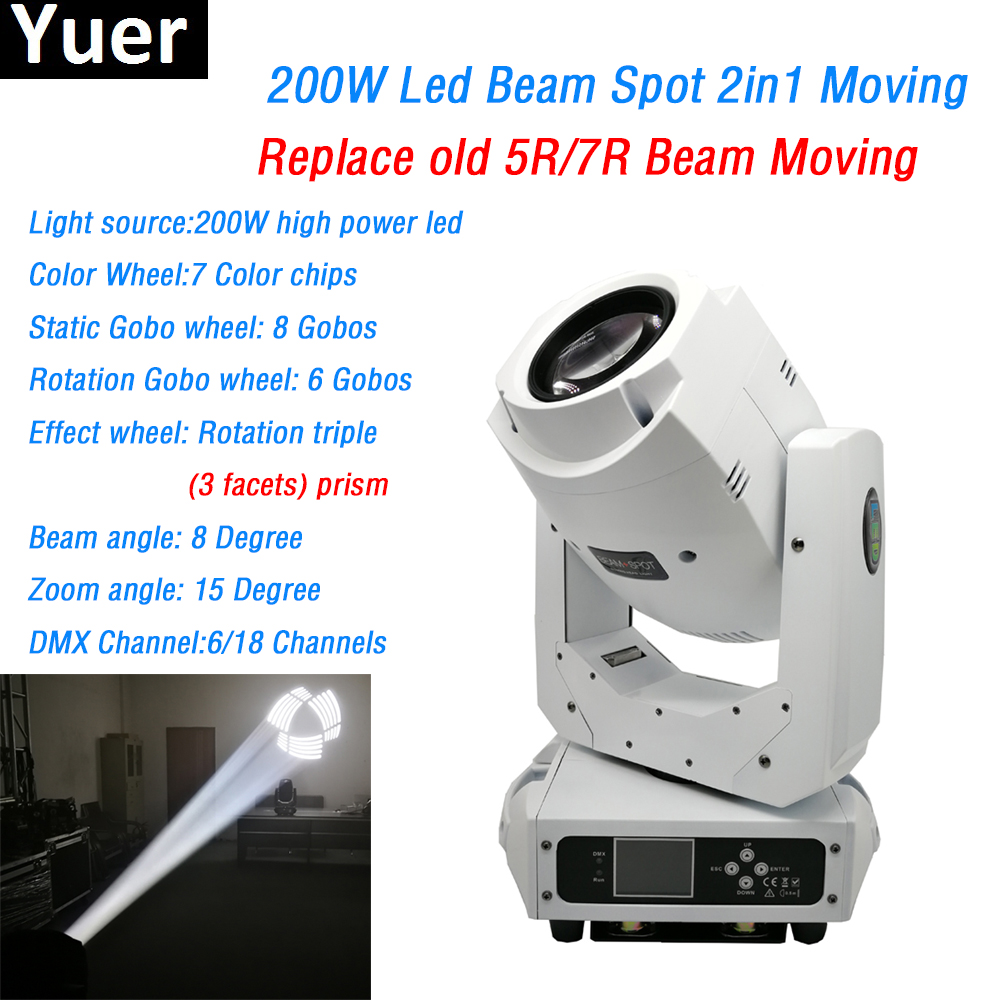 White Shell 200W led beam spot 2in1 Moving Head Light 3 facets prism 6/18 DMX CH 7 colors 2 Gobo wheels DJ Disco Stage light