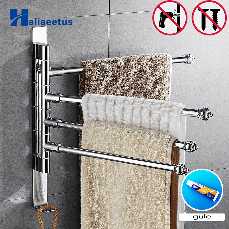 Nail free Stainless Steel Towel Rack 5/4/3 Arms Towel Hanging with Hooks Bathroom Towel Rack Movable Towel Bars lengthened thickening bathroom towel bar single lever rack free nail