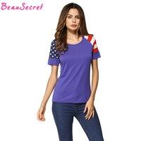 Bandera americana Lucha Color Cuello Redondo Manga Corta Camiseta Mujeres Tops Mujer Camisetas