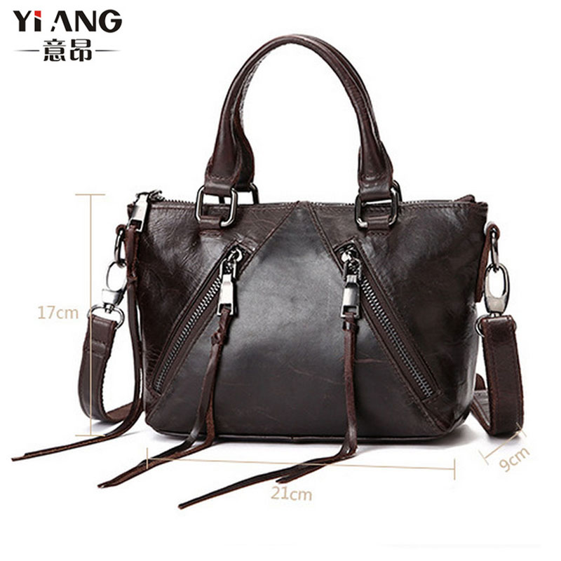 Womens Fashion Wax oil Cowhide Genuine Leather Tote Bag wallet Crossbody Messenger Shoulder Bags Handbags