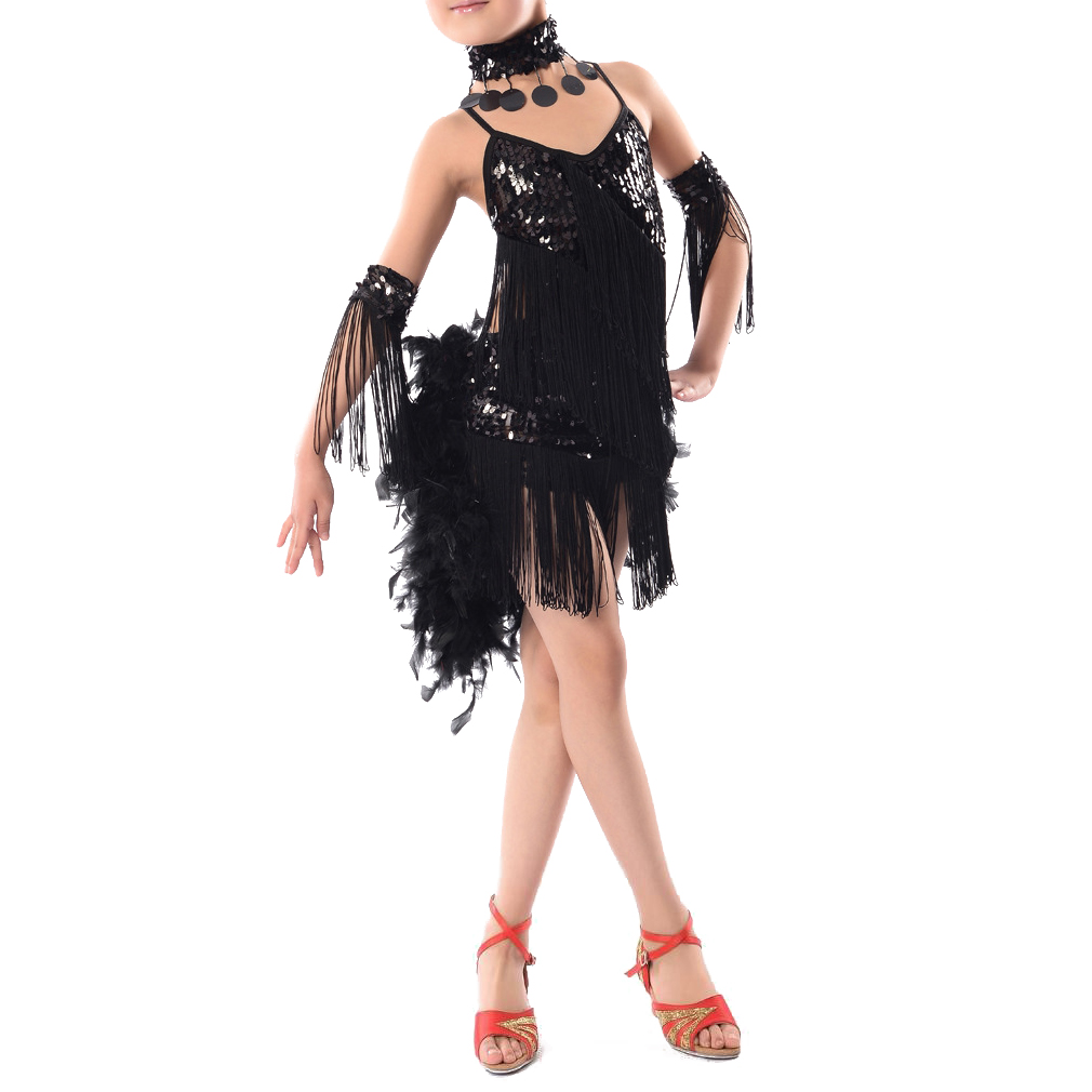 New Children Kids Sequin Feather Fringe Stage Performance Ballroom Dance Costume Latin Dancing Dresses For Girls european and american girls latin dance jazz dance professional dance costume stage performance apparel suit
