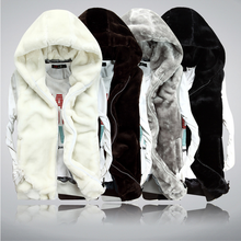 Bri 2018 New winter Autumn men Sleeveless Faux Fur Jacket for Men Fashion Warm Hooded Male Winter Vest Waistcoat Mens Vests