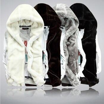 Bri 2020 New winter Autumn men Sleeveless Faux Fur Jacket for Men Fashion Warm Hooded Male Winter Vest Waistcoat Mens Vests