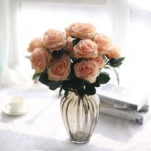 10 Heads Pretty Charming Artificial Flowers PE Foam Rose Bride Bouquet Home Wedding Decor Scrapbooking DIY Supplies