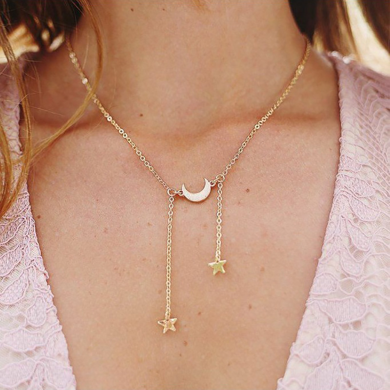 New-Fashion-Star-Crescent-moon-Chains-Necklaces-For-Women-Trendy-Minimalism-Female-Collares-Nice-Party (1)