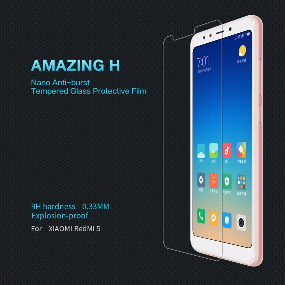 redmi 5 screen protector NILLKIN Amazing H 0.33mm 9H tempered glass screen protector for xiaomi redmi 5 glass 5.7 inch redmi5