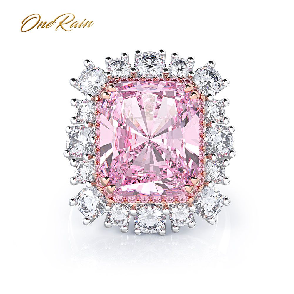 OneRain Cute 100% 925 Sterling Silver Created Moissanite Gemstone Wedding Engagement Couple White Gold Ring Jewelry Wholesale