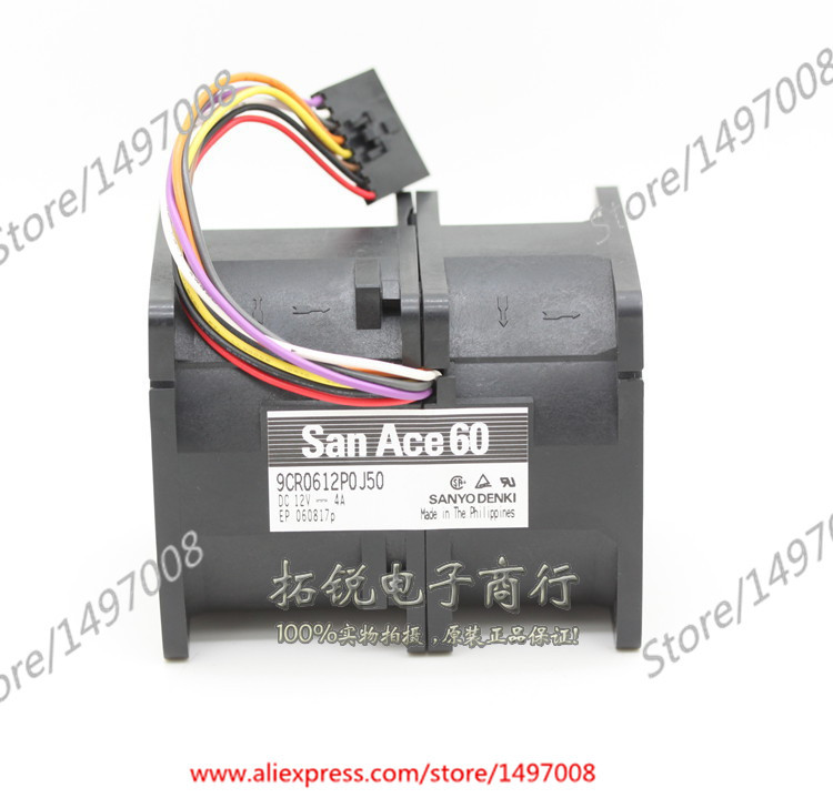 Free Shipping For Sanyo  9CR0612P0J50  DC 12V 4A 8-wire 8-pin connector 50mm, 60x60x76mm Server Square fan free shipping for delta afc0612db 9j10r dc 12v 0 45a 60x60x15mm 60mm 3 wire 3 pin connector server square fan