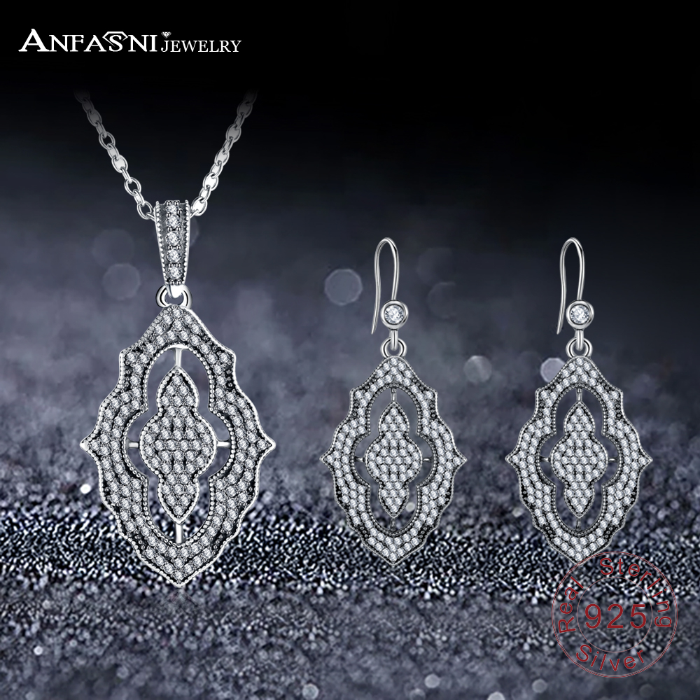 ANFASNI Fashion Real 925 Sterling Silver Sparkling Lace Stunning Silver & Clear CZ Jewelry Sets Wedding Engagement Jewelry