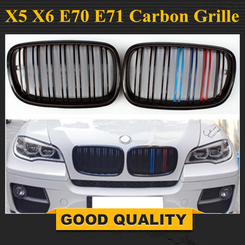 1 Pair Carbon Glossy Black M-Color Front Grille Grill Double Slat Kidney for BMW X5 X6 E70 E71 2007-2013 car bight glossy black double slat front grille grill for bmw e92 lci facelift e93 2011 2012 2013 c 5