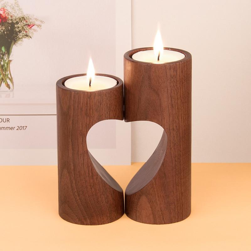 Européenne Simple Creux Chandelier Creative En Bois Artisanat Bougeoir Cadeau De Noël Décorations Pour La Maison De Mariage Maîtresses