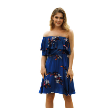 Womens dress, high waist seaside holiday summer new Bohemia printed chest dress
