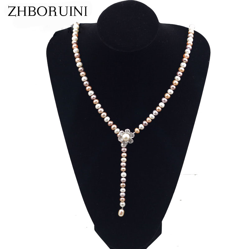 ZHBORUINI Fashion Pearl Jewelry Long Pearl Necklace Natural Freshwater Pearl Chain Accessories Statement Necklace For Women exaggerated enamel flower layered chain big imitation pearl necklace perfume women beaded chunky statement necklace