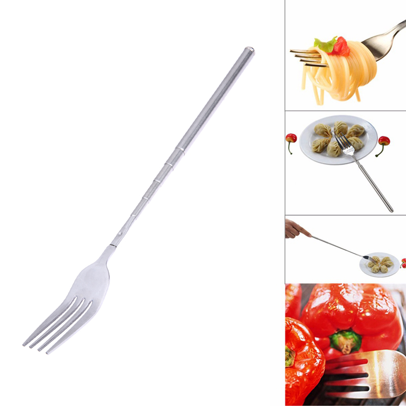 Forchetta in acciaio inox per barbecue Forchetta allungabile telescopica per cena Forchetta per frutta da dessert BBQ Accessori per barbecue da cucina per posate lunghe