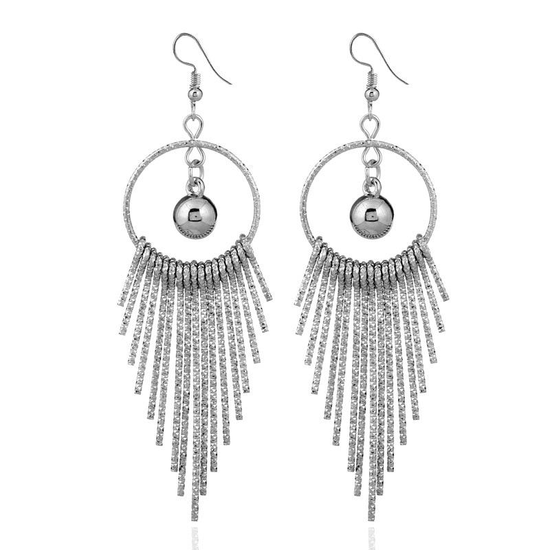 EK44 European American Exaggerate Big Round Swing Earrings For Women Geometric Shiny Tassel Long Drop Brincos Fashion Jewelry 3