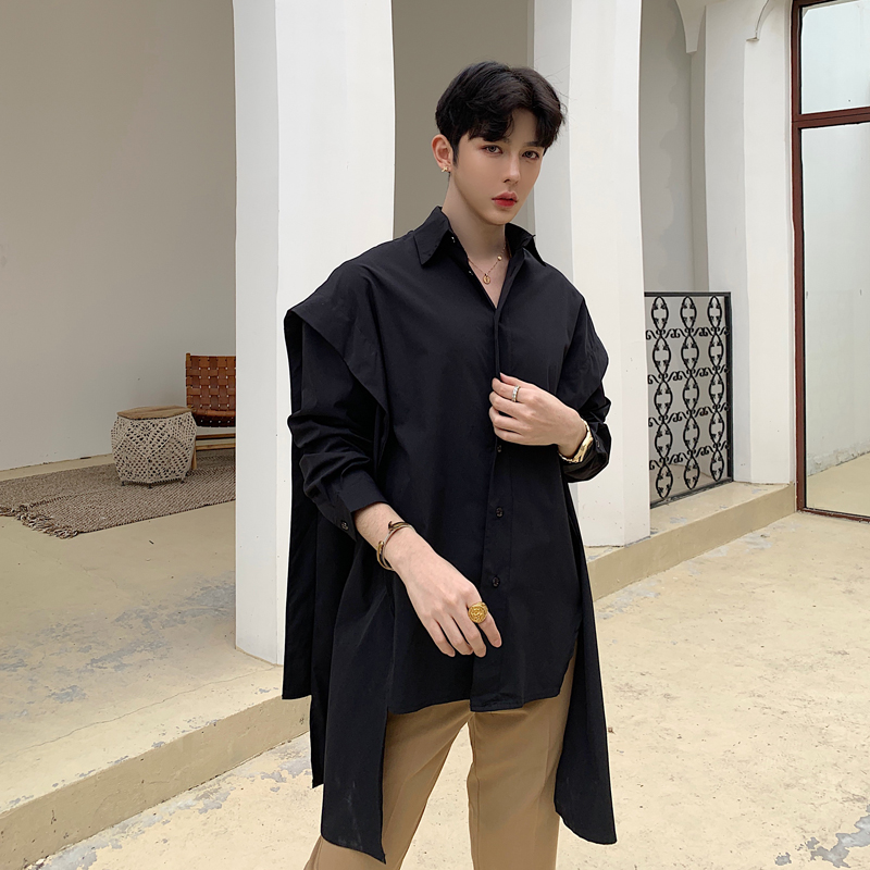 New Men Long Sleeve Casual Shirts Male Gothic Punk Style Loose Dress Shirts Stage Clothing