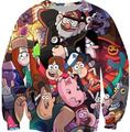 Casual O-Neck Crewneck Gravity Falls Sweatshirt Long Sleeve Sweats Jumper  Tops Outfits Cartoon Printed Jogger Tracksuit