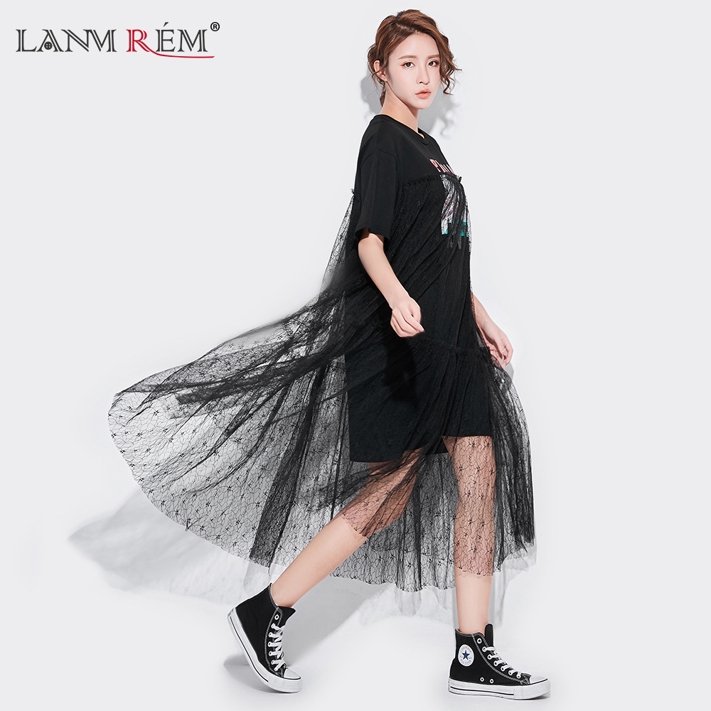 LANMREM 2018 Summer New Fashion Casual Loose Character Shore Lace Mid-calf Batwing O-neck Long Section Women Dress N23001