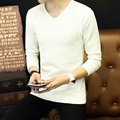 DisappeaRanceLove Марка 2017 осень основной рубашка с длинным рукавом пуловер свитер мужской сплошной цвет V-образным Вырезом тонкий свитер мужской свитер