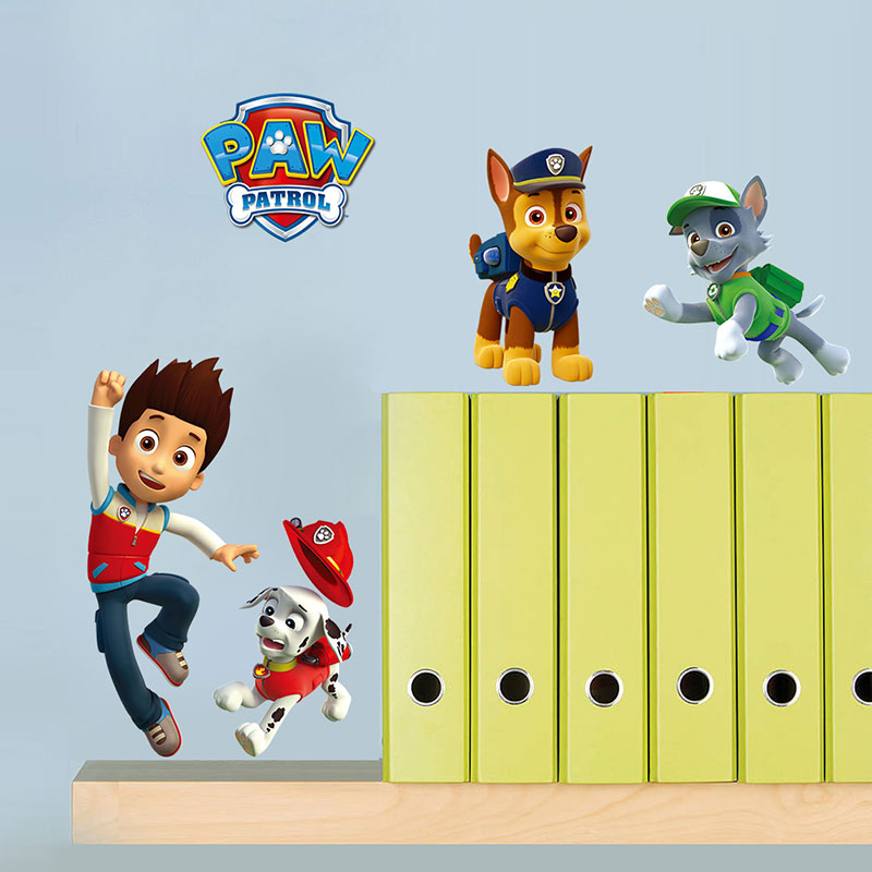 Creative Home Decor Cartoon Movie Paw Patrol Snow Slide 3D Wall Stickers For KidsLiving Room Mural Art 30*60 CM Decals