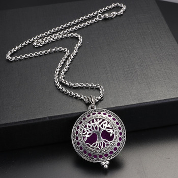 Retro Silver Necklace Tree Life Pendant Hollow Round Oil Essential Diffuser Pendants Women Dress Necklaces Baby Birth Gifts locket