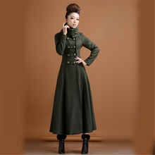 2016 New Winter Women Double Breasted Woolen Overcoat X-long Coat Paragraph Outwear Slim Elegant Military Wind Plus Size ZS656