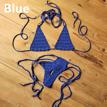 Cotton 13 Color Hand Crochet Micro Swimwear Women's Extreme Mini Sexy Bikini Set Sunbathing Bikini