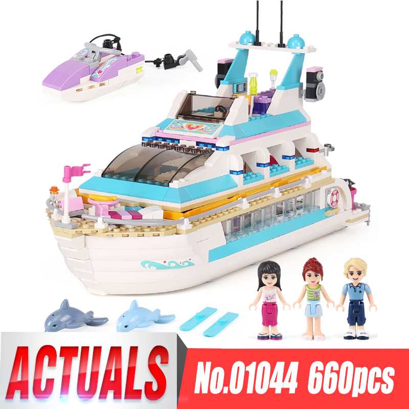 Lepin 01044 Friends Girl Series 661pcs Building Blocks toys Dolphin Cruiser kids Bricks toy girl gifts Compatible Legoing 41015 lepin 01040 friends girl series 514pcs building blocks toys snow resort chalet kids bricks toy girl gifts lepin bricks 41323